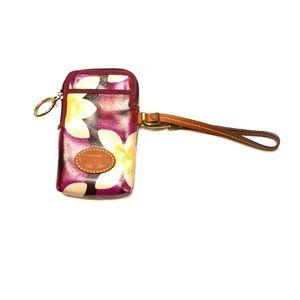 Fossil flower patterned phone wristlet